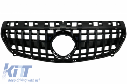 Central Grille suitable for MERCEDES Benz A-Class W176 (2012-08.2015) A45 GT-R Panamericana Design All Black - FGMBW176GTRB