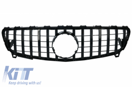Central Grille suitable for MERCEDES Benz A-Class W176 Facelift (09.2015-2018) A45 GT-R Panamericana Design All Black