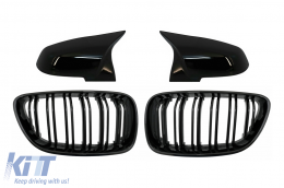 Central Kidney Grilles Double Stripe with Mirror Covers suitable for BMW 2 Series F22 F23 (2014-up) M Design Piano Black - COFGBMF22DPBB