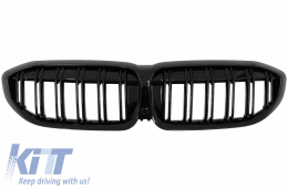 Central Kidney Grilles suitable for BMW 3 Series G20 Sedan G21 Touring (2019-up) Double Stripe M Design Piano Black