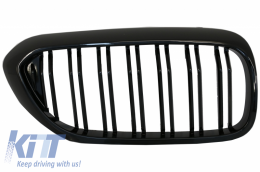 Central Kidney Grilles suitable for BMW 5 Series G30 G31 Sedan Touring (2017-up) Double Stripe M Design Piano Black - FGBMG30DPB2