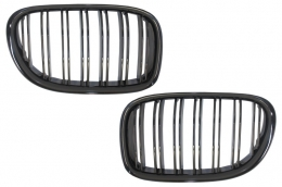 Central Kidney Grilles suitable for BMW 7 Series F01 F02 F03 (2008-2015) Double Stripe M Design Piano Black - FGBMF01DPB