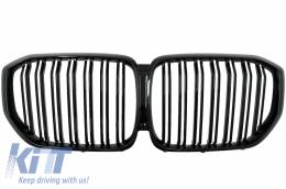 Central Kidney Grilles suitable for BMW X5 G05 (2018-up) Double Stripe M Design Piano Black - FGBMG05DPB