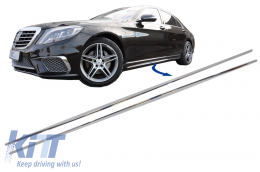 Chrome Parts Trim Strips Side Skirts suitable for Mercedes S-Class W222 (2013-2020) S65 S63 Design - SSCMBW222AMGS65