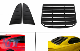 Classic Quarter Side Window Louvers suitable for FORD Mustang Mk6 VI Sixth Generation (2015-2019) with Rear Window Louvers Black PFT Design - COSWLFMUPFTRW