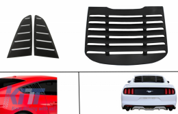 Classic Quarter Side Window Louvers suitable for FORD Mustang Mk6 VI Sixth Generation (2015-2019) with Rear Window Louvers Look Black - COSWLFMURW