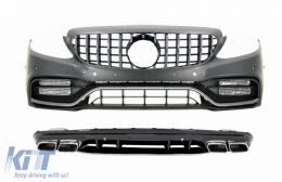 Complet Front Bumper with Diffuser and Silver Tips suitable for Mercedes C-Class W205 S205 AMG Sport Line (2014-2020) C63S Design - COCBMBW205C63SFBOCCN