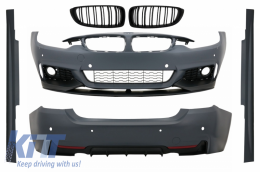 Complete Body Kit BMW 4 Series F32 F33 F36 (2013-up) M-Performance Design with Central Grille Double Stripe M Design Matte Black - COCBBMF32MPTSOGB