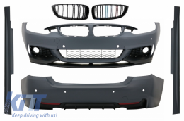 Complete Body Kit BMW 4 Series F32 F33 F36 (2013-up) M-Performance Design with Central Grille Double Stripe M Design Matte Black - COCBBMF32MPTSOPB