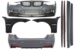 Complete Body Kit BMW F30 (2011+) M-Performance Design with Front Fenders and Central Grilles Piano Black - COCBBMF30MPSOFG