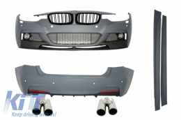 Complete Body Kit Central Double Grille Shiny Black with Exhaust Muffler Tips suitable for BMW F30 011+ M-Performance Look - COCBBMF30MPDPBTY