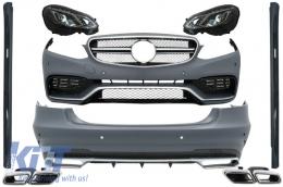 Complete Body Kit + Exhaust Tips + LED Xenon Headlights Mercedes Benz W212 E-Class (2013-2016) E63 AMG Design