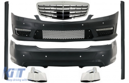 Complete Body Kit for Mercedes W221 AMG 05-11 Bumper Side Skirts Front Grill Tailpipes - COCBMBW221AMGFS65C