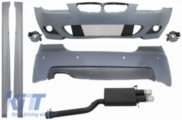 Complete Body Kit M-Technik with PDC 18mm Exhaust System Sport Twin Muffler Tips suitable for BMW E60 LCI 5 Series (2007-2010)