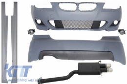 Complete Body Kit M-Technik without PDC Exhaust System Twin Sport suitable for BMW E60 2003-2010 - COCBBME60MTWOPDCSO