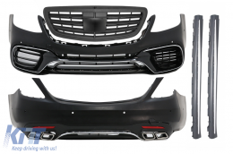 Complete Body Kit Mercedes Benz S-Class W222 Facelift (2013-Up) S63 AMG Design With Central Grille Matte Black - COCBMBW222AMGS63FGB