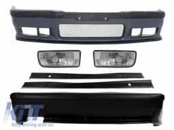 Complete Body Kit suitable for BMW 3 Series E36 1992-1998 M3 Design with Fog Lights Chrome Side Skirts - COCBBME36M3SSNLDC