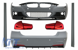 Complete Body Kit suitable for BMW 3 Series F30 (2011-2019) with LED Taillights Red Clear Dynamic Turning Light M-Performance LCI Design