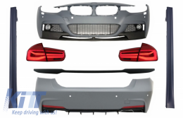 Complete Body Kit suitable for BMW 3 Series F30 (2011-2019) with Trunk Spoiler and LED Taillights Dynamic Sequential Turning Light M-Performance Design - COCBBMF30MPDOTSRC