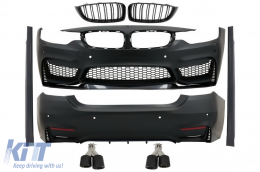 Complete Body Kit suitable for BMW 4 Series F36 Gran Coupe (2013-03.2019) M4 Look with Grilles and Exhaust Tips Carbon - COCBBMF36M4DOGJET