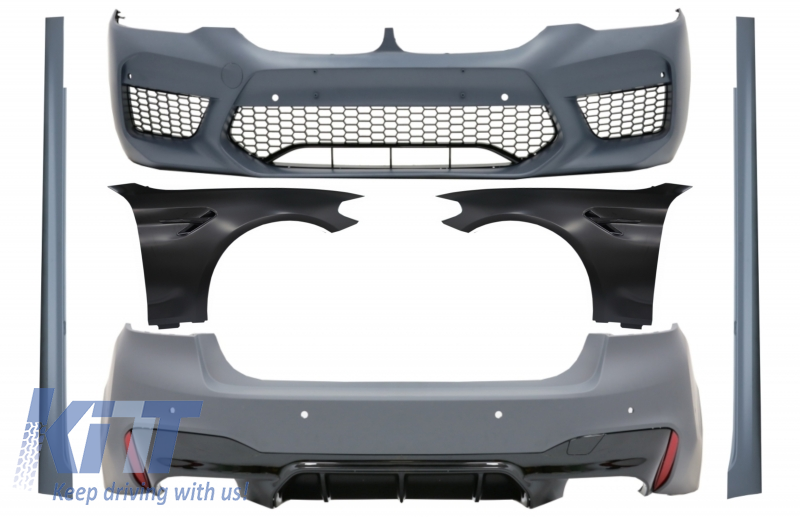 BMW 5 F10 SALOON 2010-2013 FRONT BUMPER PRIMED WITH SENSOR AND WASHER HOLES NEW