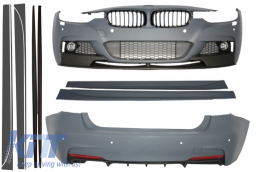 Complete Body Kit suitable for BMW F30 2011+ Front Grilles Piano Black Frame/Matte Side Skirts Add-on Lip Extensions M-Performance Design - COCBBMF30MPPDCDG
