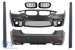 Complete Body Kit suitable for BMW F30 (2011-2019) EVO II M3 CS Design with Kidney Grilles Double Stripe M Design Piano Black