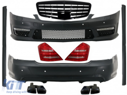 Complete Body Kit suitable for MERCEDES-Benz S-Class W221 2005-2009 (LWB) A-Design Taillights Exhaust Muffler Tips - COCBMBW221AMGB