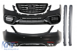Complete Body Kit suitable for MERCEDES Benz S-Class W222 Facelift (2013-Up) S63 A-Design With Central Grille Piano Black - COCBMBW222AMGS63FGPB
