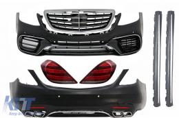 Complete Body Kit suitable for MERCEDES Benz S-Class W222 Facelift (2013-Up) S63 A-Design and Taillights Full LED with Sequential Dynamic Turning Lights - COCBMBW222AMGS63FGT