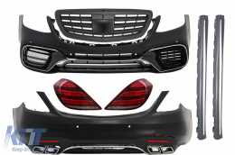 Complete Body Kit suitable for MERCEDES Benz S-Class W222 Facelift (2013-Up) S63 A-Design and Taillights Full LED with Sequential Dynamic Turning Lights - COCBMBW222AMGS63FGBT