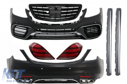 Complete Body Kit suitable for MERCEDES Benz S-Class W222 Facelift (2013-Up) S63 A-Design and Taillights Full LED with Sequential Dynamic Turning Lights - COCBMBW222AMGS63FGPBT