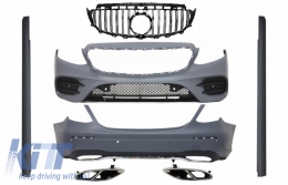 Complete Body Kit suitable for Mercedes E-Class W213 with Central Grille Exhaust Muffler Tips (2016-up) GT-R E43 E53 Sport Line Design - COCBMBW213AMGSLFGTY