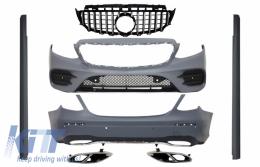 Complete Body Kit suitable for Mercedes E-Class W213 with Central Grille Muffler Tips GT-R E43 E53 Sport Line Design Black Chrome - COCBMBW213AMGSLTYGTRCN