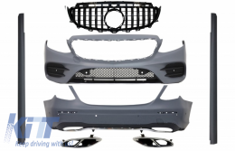 Complete Body Kit suitable for Mercedes E-Class W213 with Central Grille Muffler Tips (2016-up) GT-R E43 E53 Sport Line Design Black - COCBMBW213AMGSLTYGTRBCN
