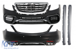 Complete Body Kit suitable for MERCEDES S-Class W222 Facelift (2013-Up) S63 Design With Central Grille Chrome