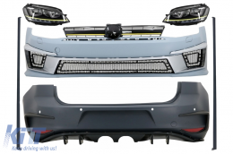 Complete Body Kit suitable for VW Golf 7 VII (2012-2017) R400 Look with Headlights 3D LED DRL Yellow FLOWING Dynamic Sequential Turning Lights - COCBVWG7R400LEDFW