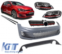 Complete Body Kit Volkswagen Golf 7 VII 12+ GTI Look With Front Grille and Headlights LED DRL