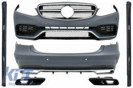 Complete Body Kit with Black Exhaust Tips suitable for MERCEDES E-Class W212 Facelift (2013-2016) E63 Design - COCBMBW212FAMGTYB