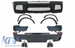 Complete Body Kit with Dual Twin Exhaust Muffler Tips Carbon Fiber Matte suitable for BMW X5 E70 (2007-2013) X5M M Design - COCBBME70MKLT075