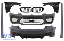 Complete Body Kit with Front Fenders Black and Grilles Piano Black suitable for BMW 5 Series G30 (2017-up) M5 Design - COCBBMG30M5FFBFG
