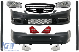 Complete Body Kit with Front Grille Piano Black suitable for MERCEDES-Benz S-Class W221 2005-2009 (LWB) Facelift A-Design