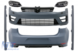 Complete Body Kit with Headlights LED Dynamic Sequential Turning Lights suitable for VW Golf 7 VII (11/2012-07/2017) R Design - COCBVWG7R20FW