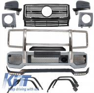 Complete Conversion Front Bumper Assembly suitable for MERCEDES Benz W463 G-Class (1989-up) G63 G65 B Design All Black