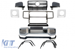 Complete Conversion Front Bumper Assembly Mercedes Benz W463 G-Class (1989-up) G65 AMG Design  Chrome - COCBMBW463AMGFBC