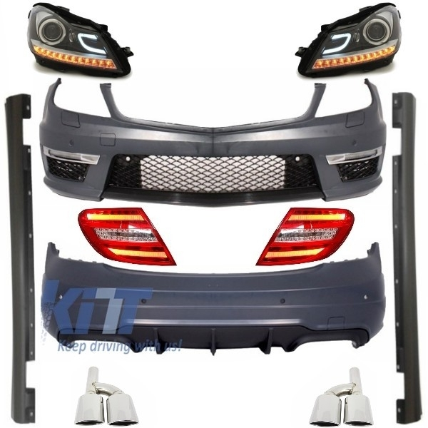 Complete exterior body kit mercedes c class w204 facelift - Mercedes benz exterior car care kit ...