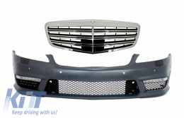 Complete Front Bumper Assembly with Central Grille suitable for Mercedes Benz S-Class W221 (2005-2012) S63 S65 Design - COFBMBW221S65F
