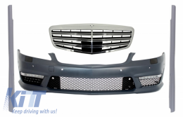 Complete Front Bumper Assembly with Central Grille suitable for Mercedes S-Class W221 (2005-2010) S63 S65 Design and Side Skirts Short Version - COFBMBW221S65FSS
