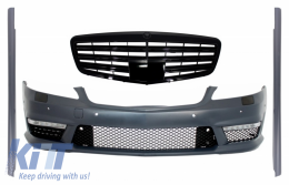Complete Front Bumper Assembly with Central Grille Mercedes Benz W221 S-Class (2005-2010) S63 S65 AMG Look and Side Skirts - COFBMBW221S65FGS