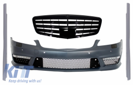 Complete Front Bumper Assembly with Central Grille suitable for Mercedes S-Class W221 (2005-2010) S63 S65 Design and Side Skirts Short Version - COFBMBW221S65FGSS